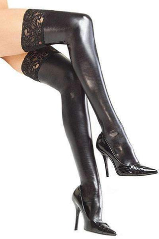 Lace Top Black PVC Stockings