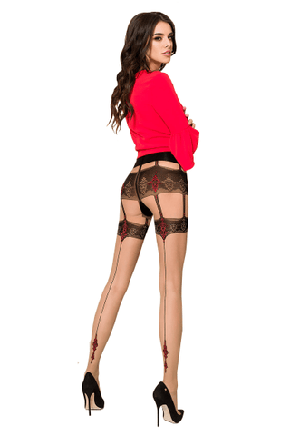 TI103 Gold Collection Nude Tights, Red Seam Pattern