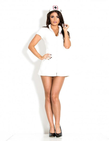 PVC Sexy Nurse Dress with Cap - White