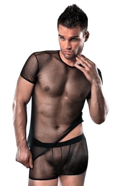 Passion Lingerie Men's Sheer T Shirt & Boxers