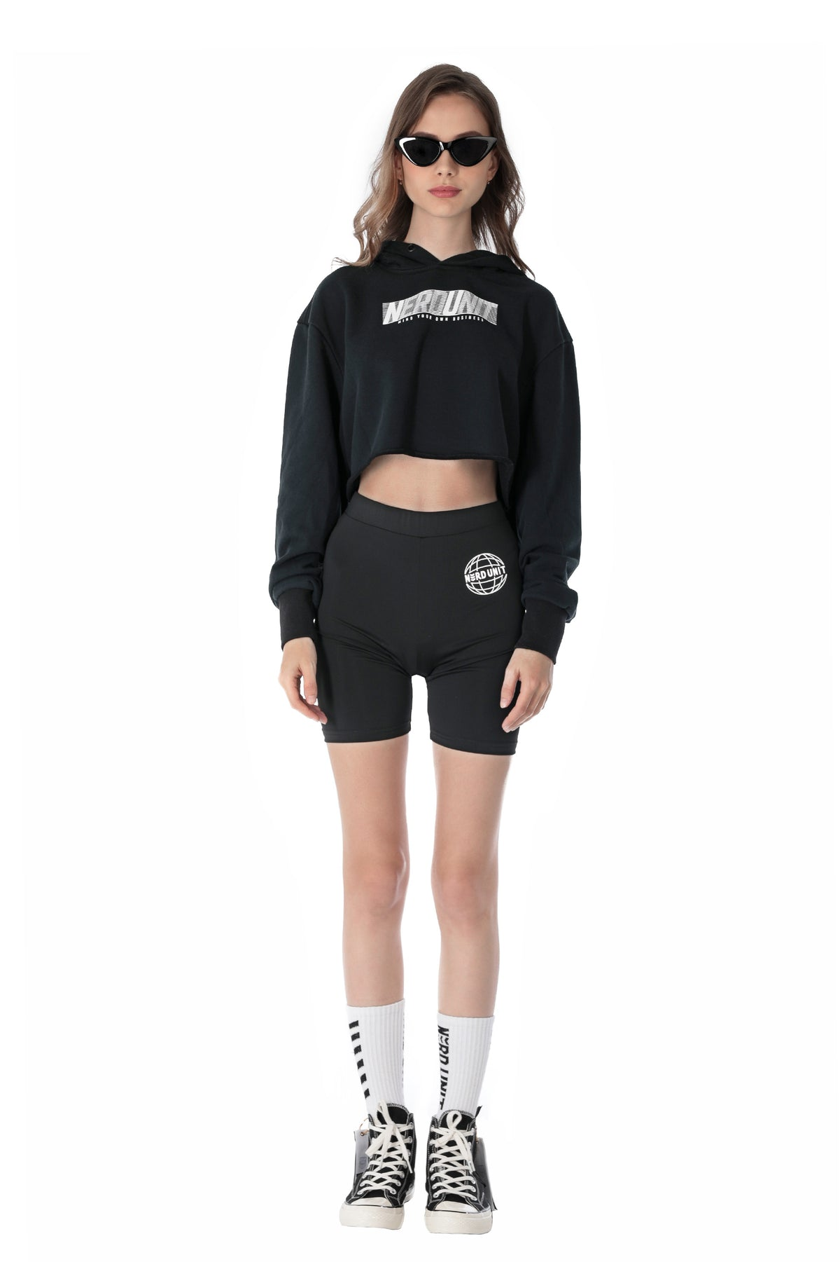 ACTIVE HOODED CROP TOP | BLACK ( アクティブ フーディー クロップトップ | ブラック  )