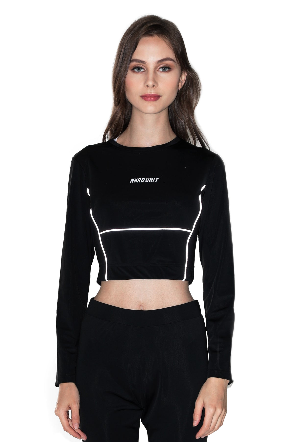 REFLECTIVE LINING LONG SLEEVES CROP TOP | BLACK ( リフレクティブ ライニング ロングスリーブ クロップトップ | ブラック )
