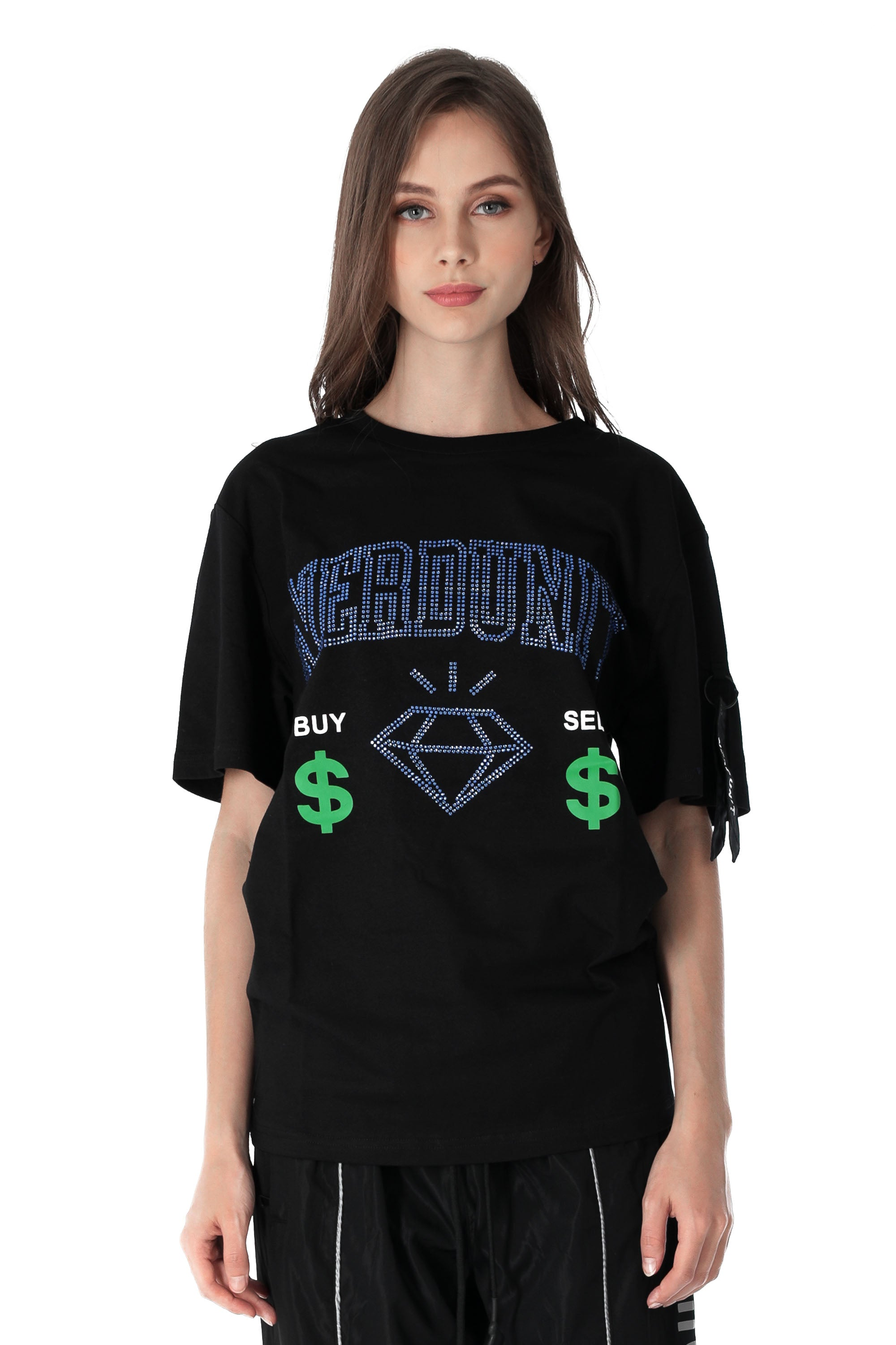 RHINESTONES DIAMOND TEE | BLACK