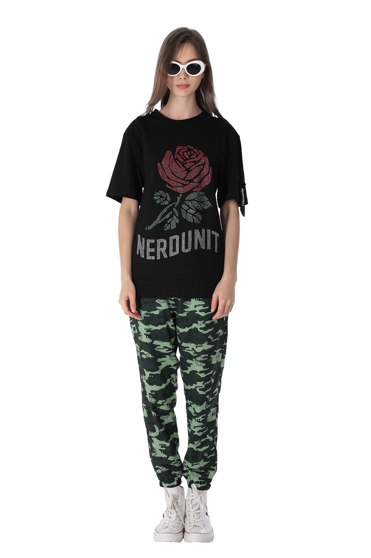 RHINESTONES ROSE TEE | BLACK