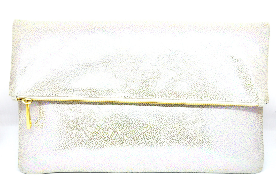 Large Stingray Print Leather Clutch
