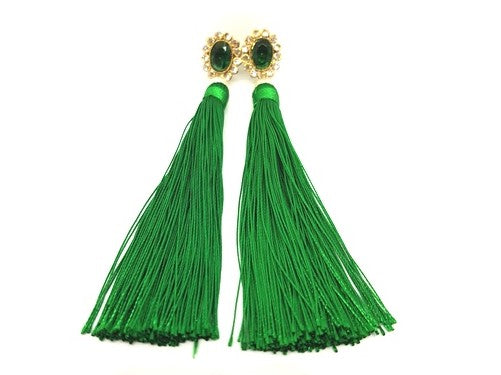DIA PEARL LONG FRINGE EARINGS