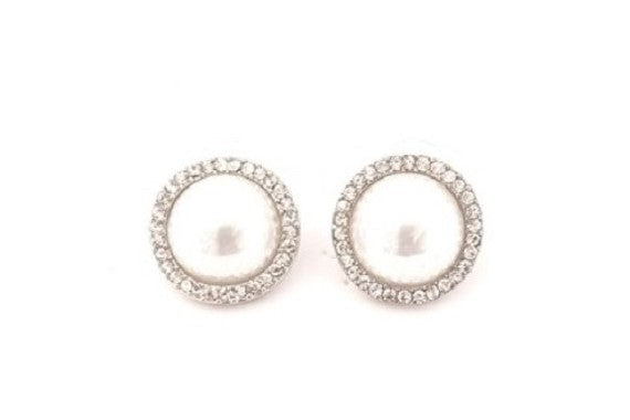 LARGE DIA PEARL DROP EARRINGS