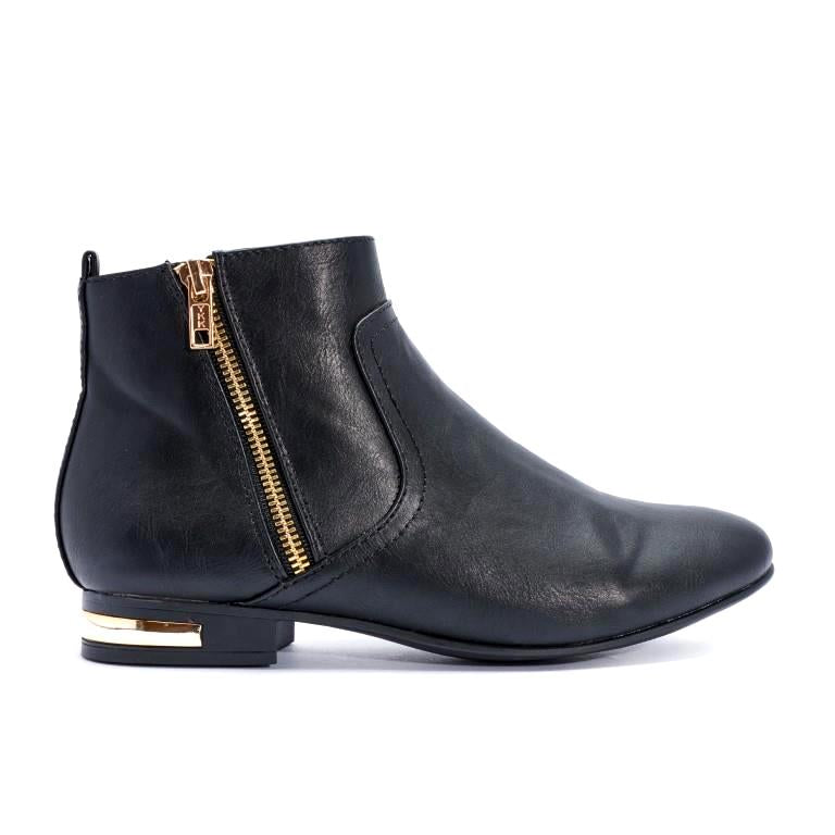 Flat Metal Trim Ankle Boot