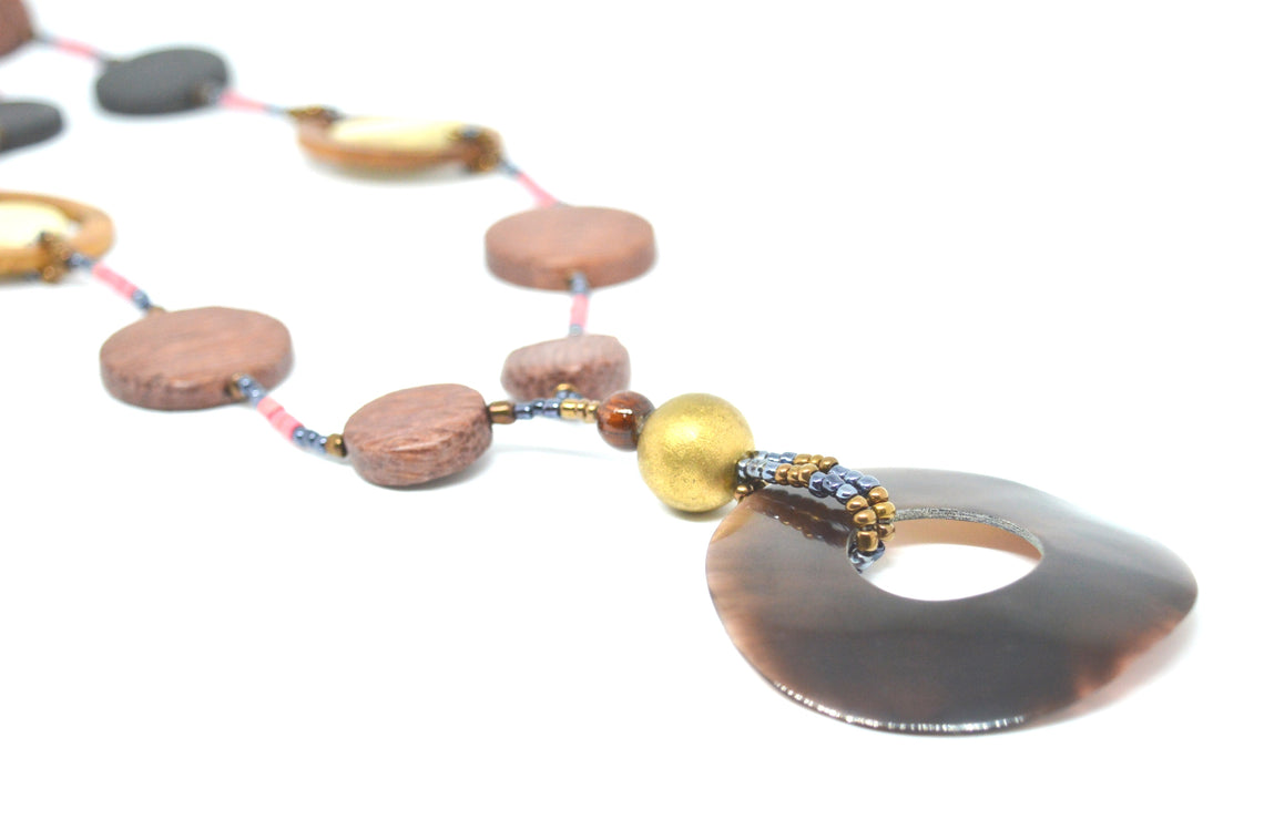 Tribal Wooden Circle Necklace