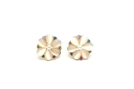 MULTI STONE LARGE FLOWER EARRING