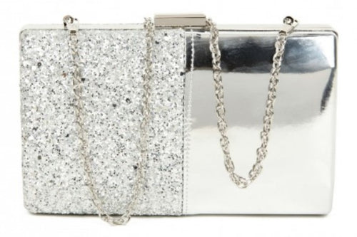 METALLIC GLITTER BOX CLUTCH