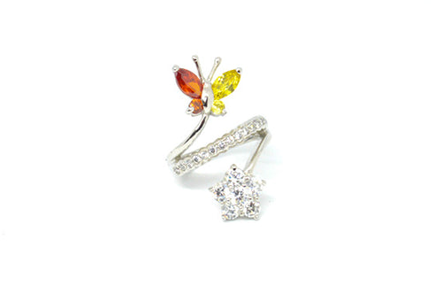 Silver Butterfly/Flower Ring