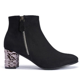 Low Metallic Heel Ankle Boot