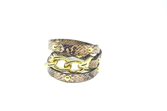 Snake Print Leather Chain Cuff