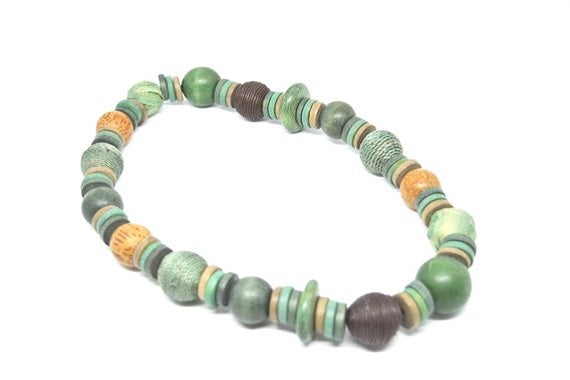 Wooden Beaded Stretch Necklace