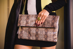 Large Snake Print Leather Clutch