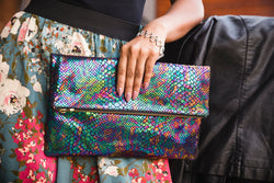 Large Multi Print Leather Clutch