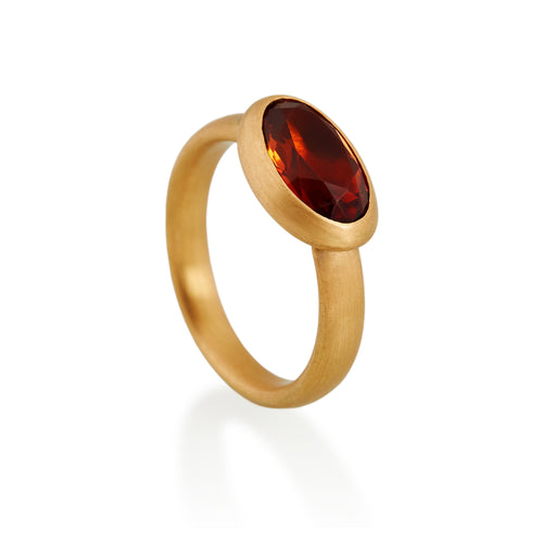 Oval Orange Citrine Ring, 22ct gold