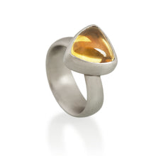 Triangular Cabochon Citrine Ring, Platinum
