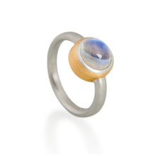Two Tone Moonstone Ring, Platinum & 22ct Gold