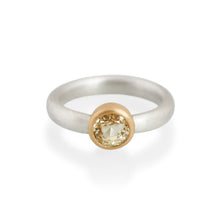 Pale Citrine Ring, Silver & 22ct Gold