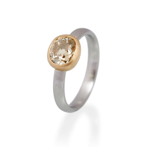 Cushion Cut Fancy Brown Diamond Ring, Platinum & 22ct Gold