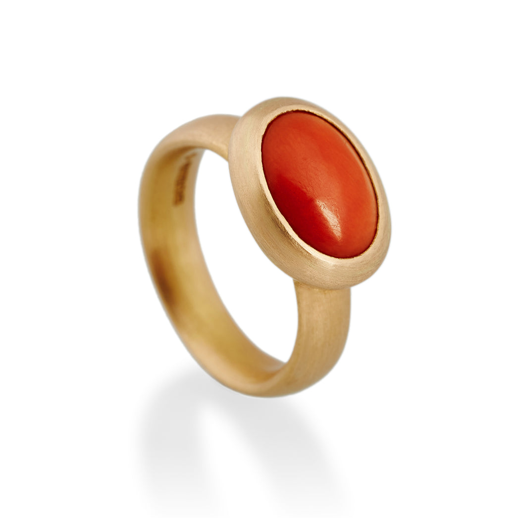 Natural Antique Coral Ring, 22ct Gold