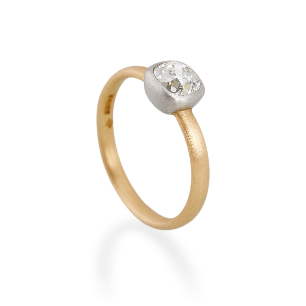 Cushion Cut Diamond Ring, 22ct Gold & Platinum