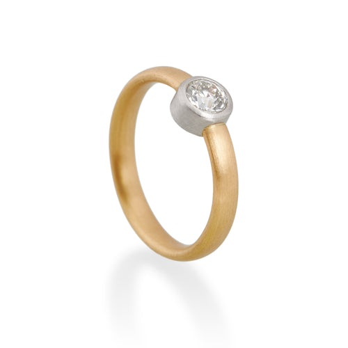 Round Old Cut Diamond Ring, 22ct Gold & Platinum