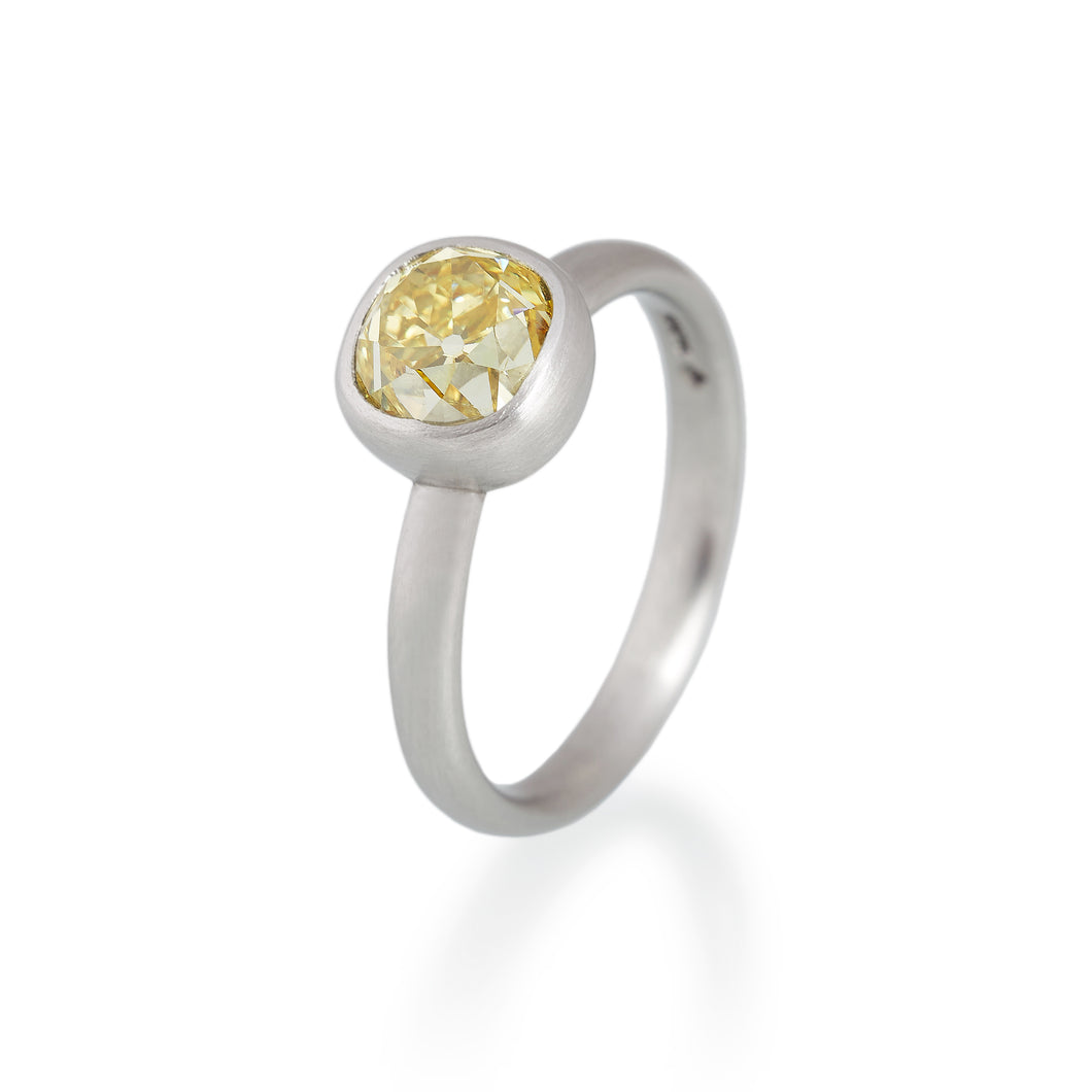 Yellow Old Mine Cut Diamond Ring, Platinum