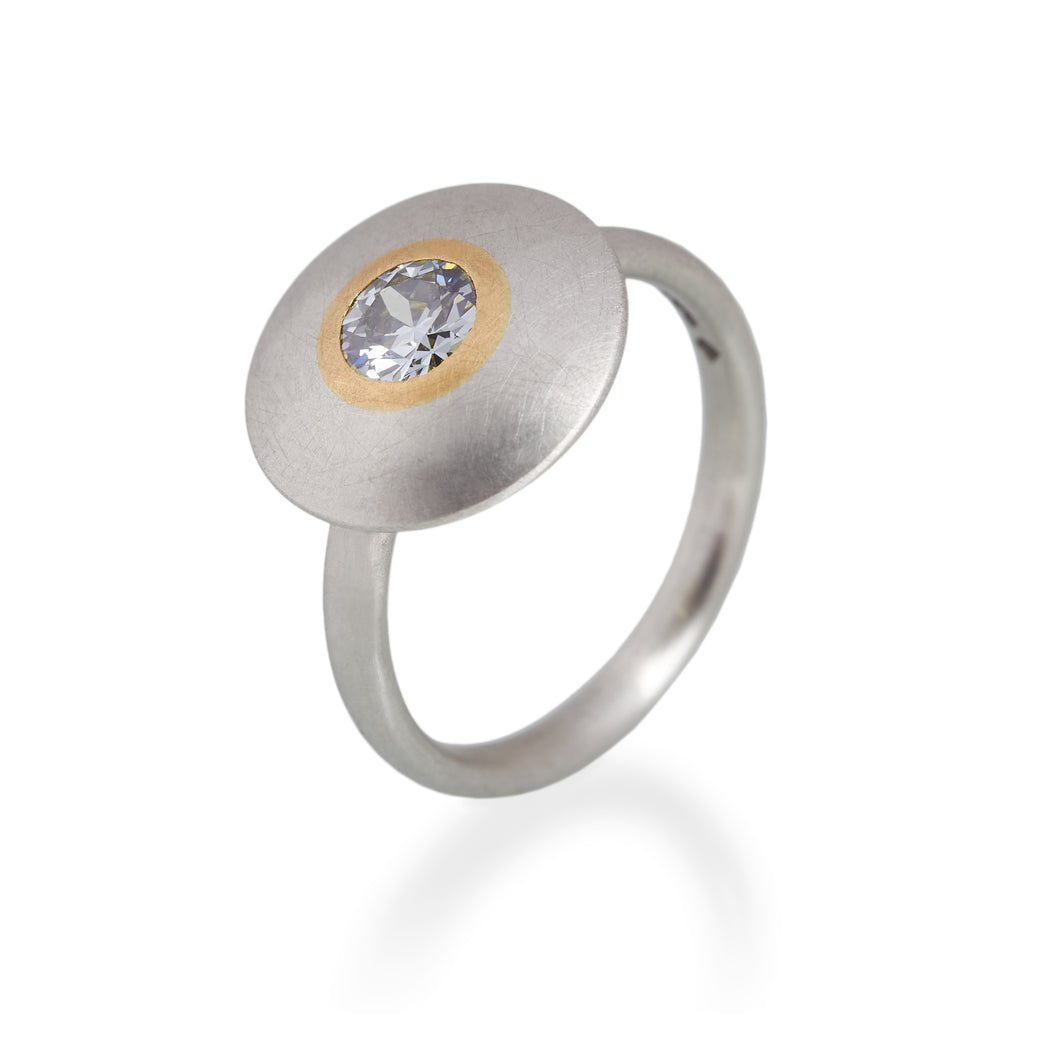 Blue-Grey Brilliant Diamond Disc Ring, Platinum & 22ct Gold