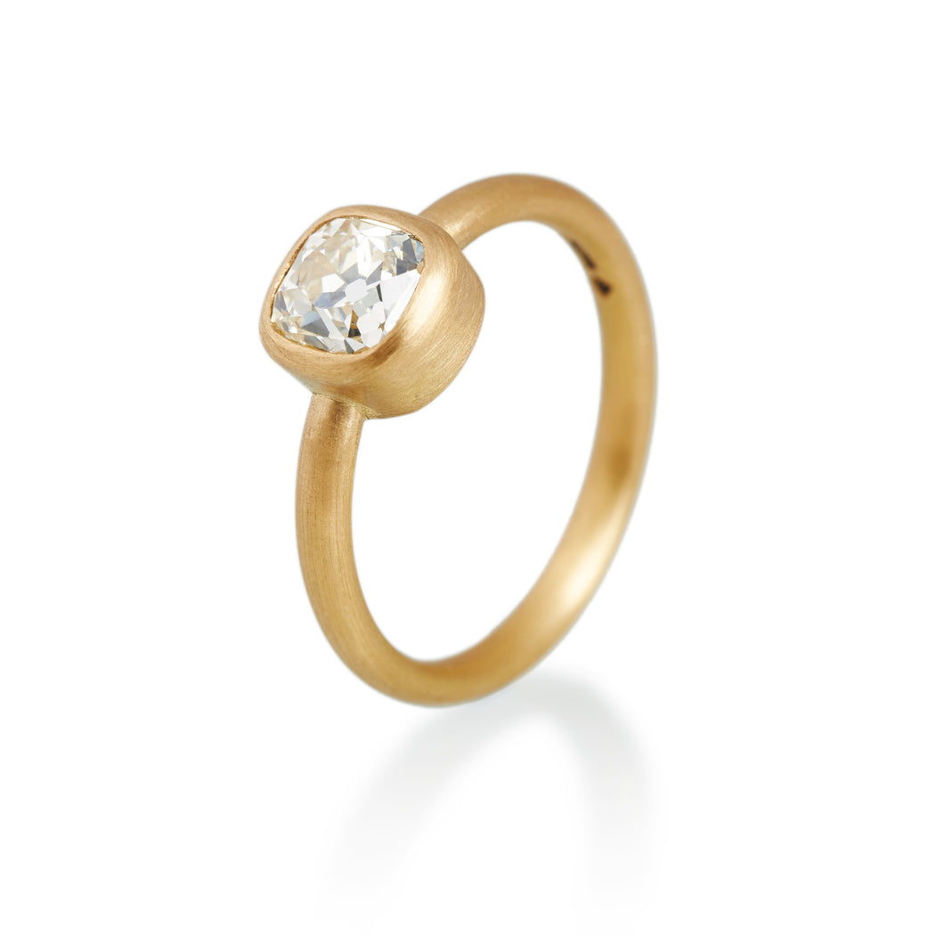 Cushion Cut Diamond Ring, 22ct Gold