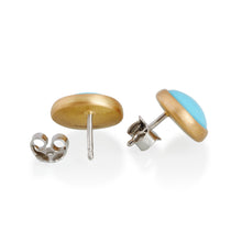 Turquoise Stud Earrings, 22ct Gold