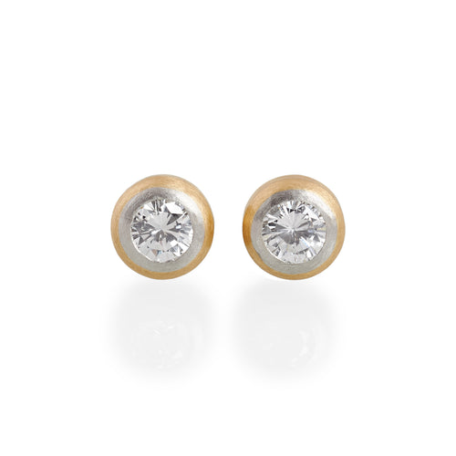 Brilliant Diamond Stud Earrings, 22ct Gold & Platinum