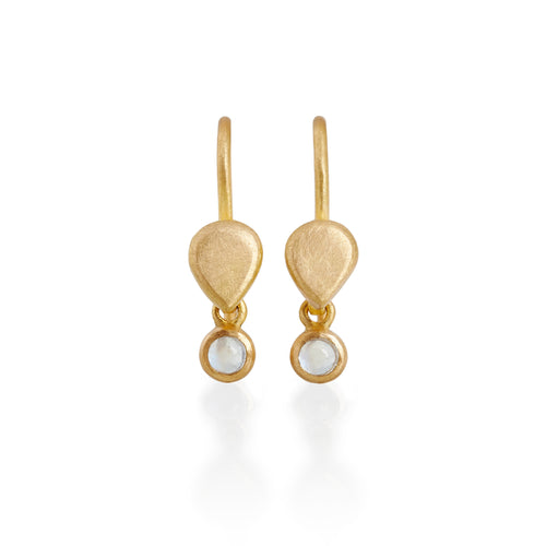 Moonstone Drop Earrings, 22ct Gold