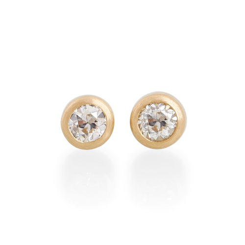 Old Round Cut Diamond Stud Earrings, 22ct Gold