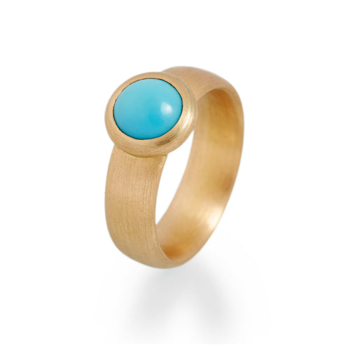 Round Turquoise Ring, 22ct Gold