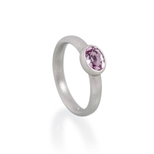 Pink Topaz Ring, Platinum