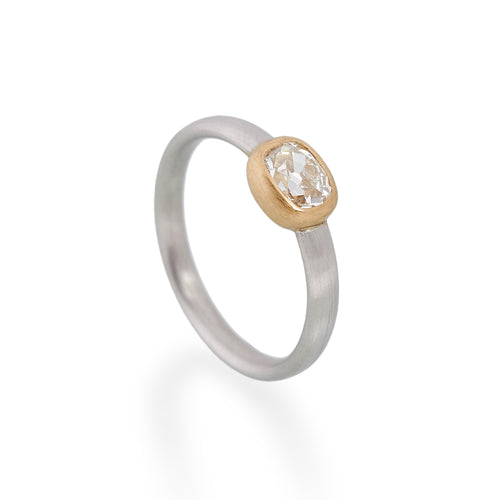 Cushion Cut Diamond Ring, Platinum & 22ct Gold