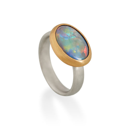 Black Opal Ring, Platinum & 22ct gold