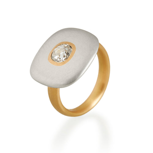 Cushion Cut Diamond Square Disc Ring, 22ct Gold & Platinum