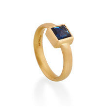 Square Sapphire Ring, 22ct Gold