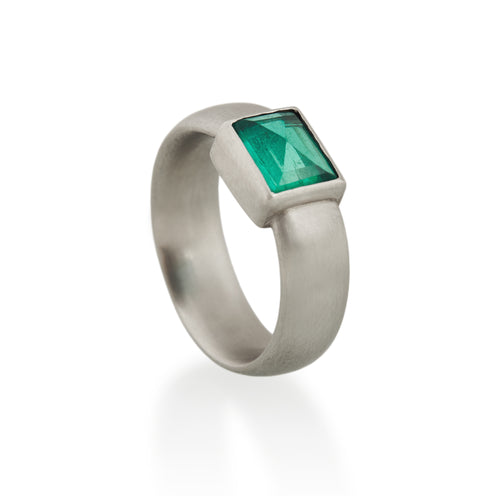 Rectangular Emerald Ring, Platinum