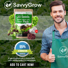 SavvyGrow Herb Lettuce Green Seeds Combo - 20 Variety 4000+ Heirloom Garden Seeds for Planting - 95% Plus Germination Rate, Non-GMO & Source in USA Vegetable Seeds