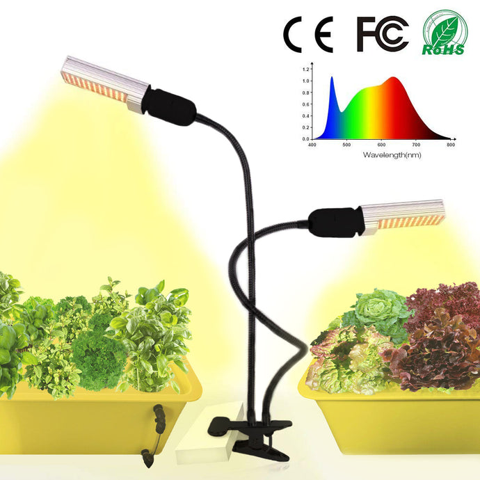 50W LED Grow Light for Indoor Plants - Full Spectrum Plant Lights Lamp with Dual Head Gooseneck