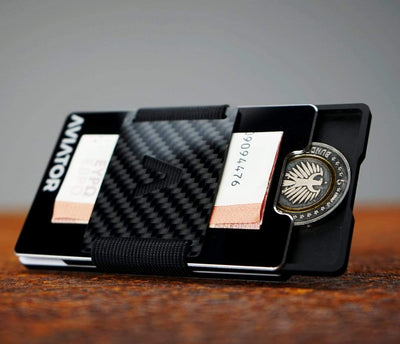 Black Metallic Carbon Minimalist Wallet