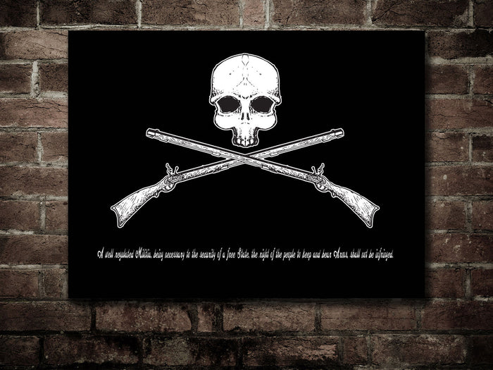 Canvas Second amendment - Skull & rifles flag