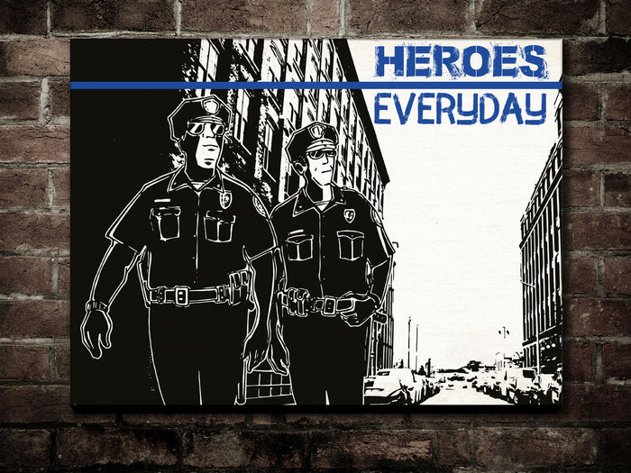 Canvas Thin Blue Line - Heroes Everyday