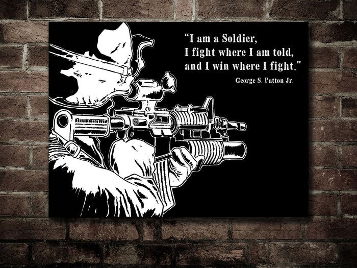 Canvas US Army Soldier - Patton Quote