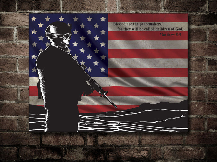 Canvas US Army Soldier US FLag & St Matthew